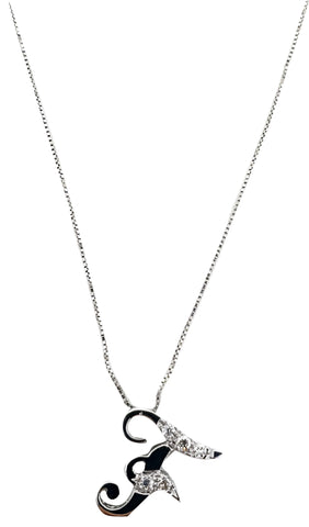 Necklace with Initial Pendant Letter F in White Gold 18kt 750 with Diamonds 0,06ct F VVS
