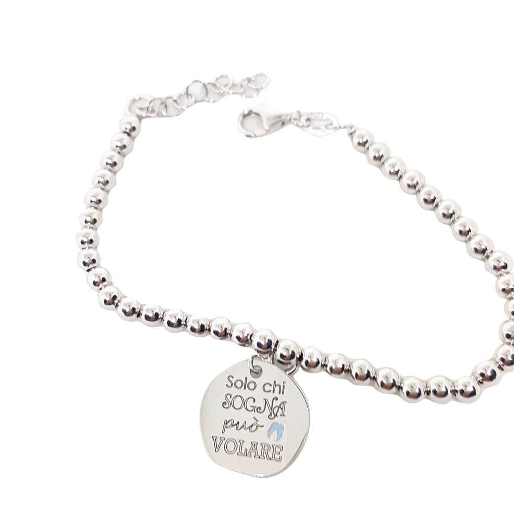 "Bracelet Man Woman Balls 4mm Silver 925 ""Only those who dream can fly"" - LUPPINO GIOIELLI SRLS"