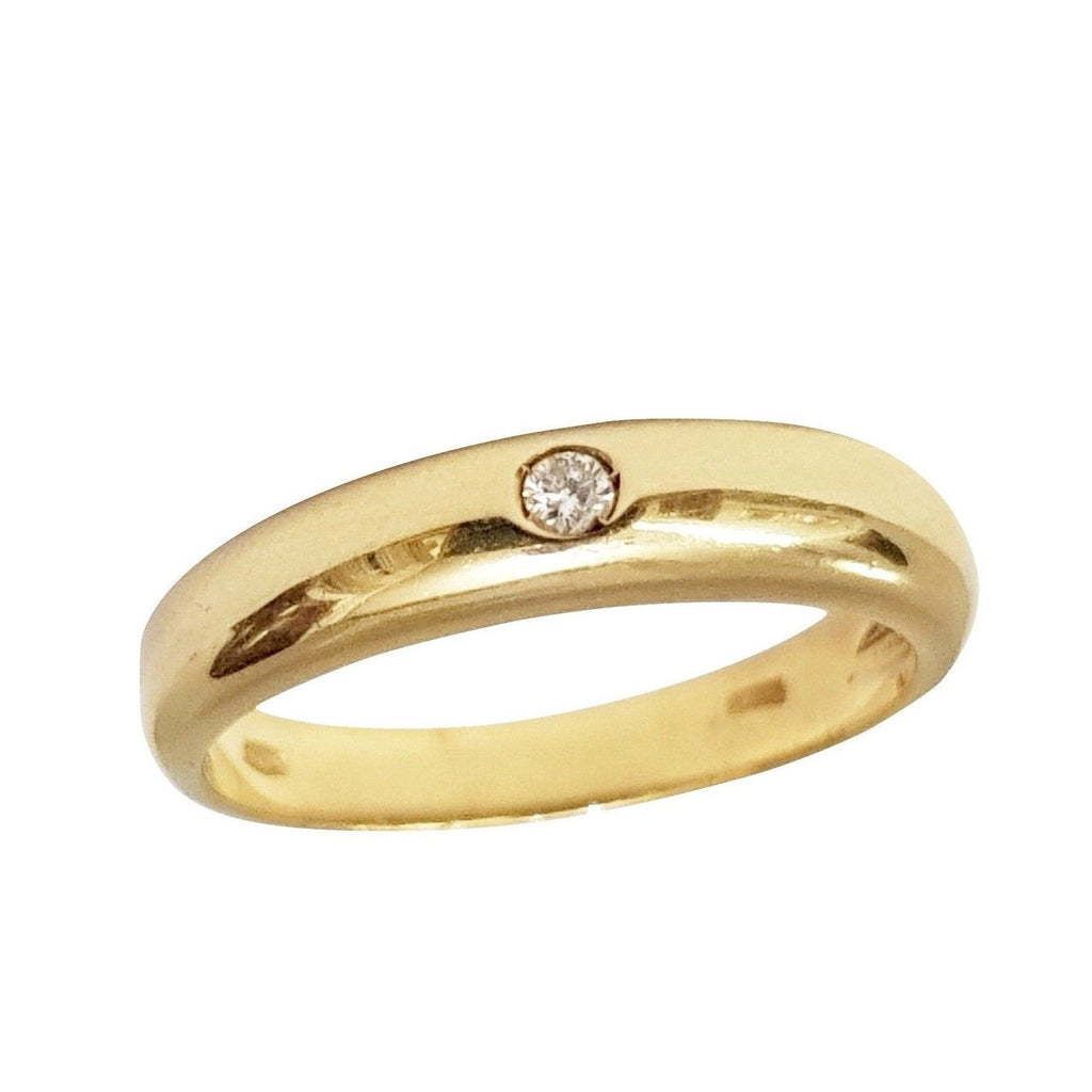 Yellow Gold Wedding Ring 18kt 750 / 000 with Diamond 0.03ct H VVS 4.00GR