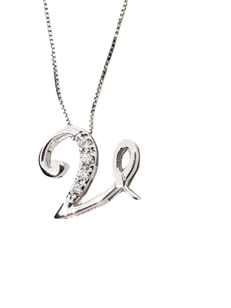 Necklace with Initial Pendant Letter V in White Gold 18kt 750 with Diamonds 0,05ct F VVS