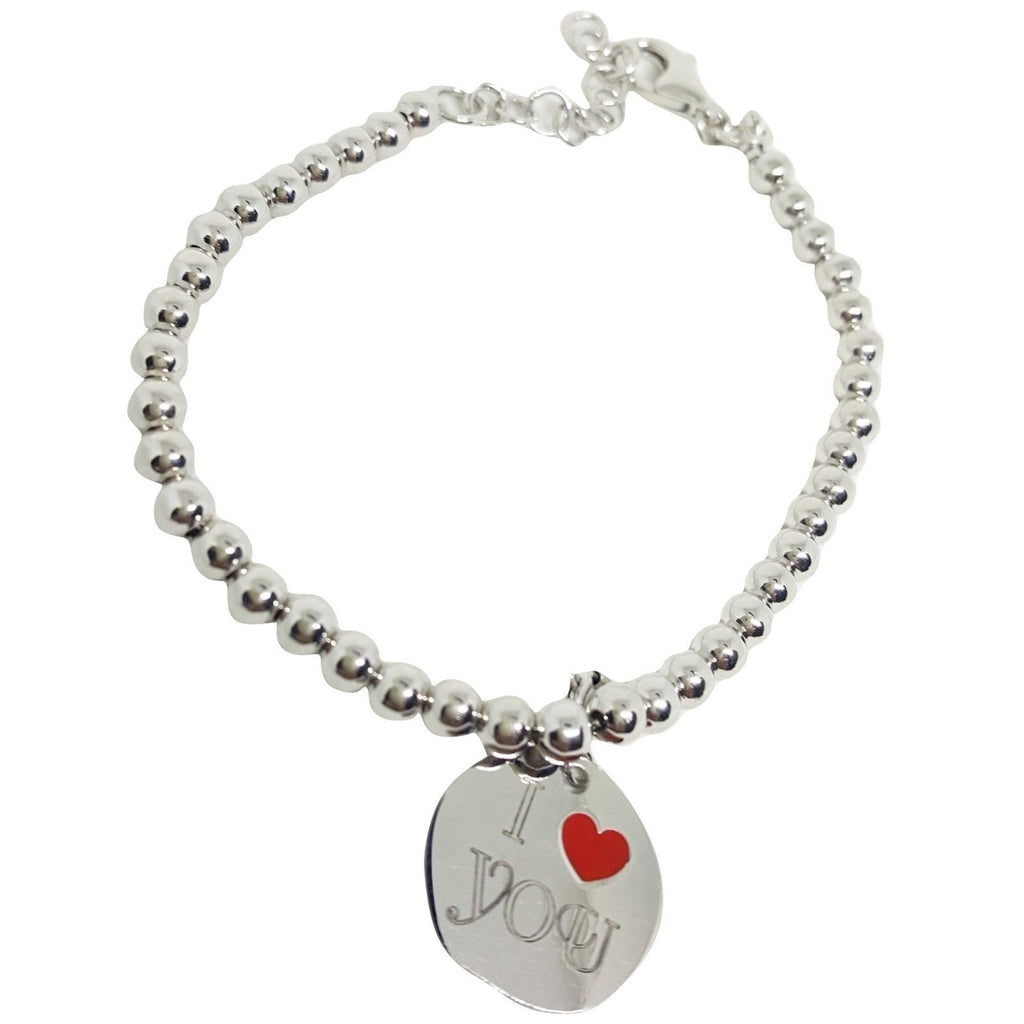 "Bracelet Man Woman Balls 4mm Silver 925 ""I Love you"" - LUPPINO GIOIELLI SRLS"