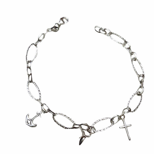 18kt 750 Woman White Gold Chain Bracelet with Pendants 3,00Gr - LUPPINO GIOIELLI SRLS