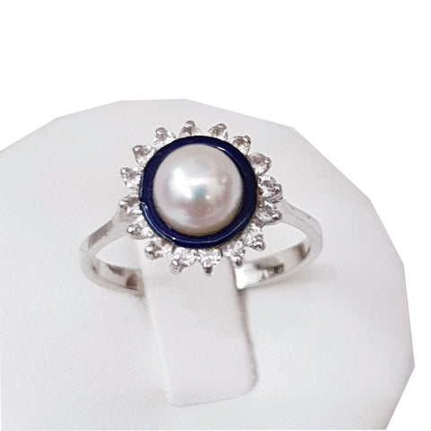 White gold ring 18 kt (750 / 000) with freshwater pearl 4mm and Zircons 3,40gr - LUPPINO GIOIELLI SRLS