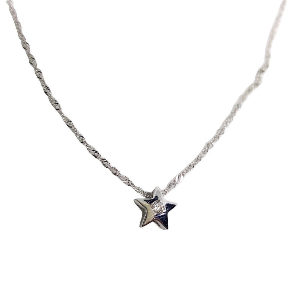 White Gold Star Point Necklace 18kt 750 / 000 0,03ct Diamond F VVS - LUPPINO GIOIELLI SRLS