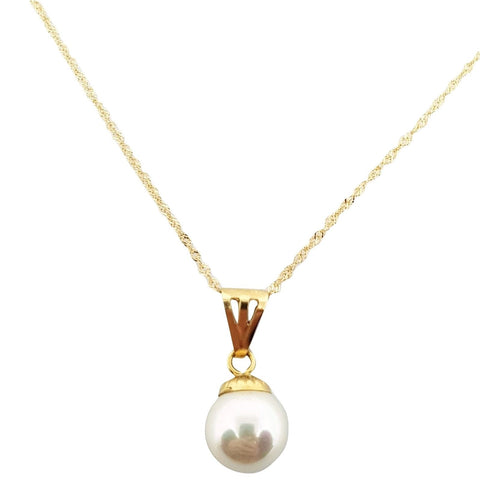 Singapore Gold Necklace 18kt 750 with Pearl Pendant 9,5mm - LUPPINO GIOIELLI SRLS