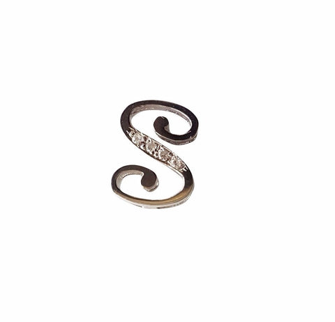 Initial Pendant Letter S in White Gold 18kt 750 / 000 with Diamonds 0,03ct F VVS - LUPPINO GIOIELLI SRLS