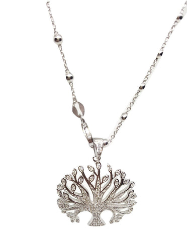 Long Necklace and Tree of Life Pendant with Zircons in Silver 925 - LUPPINO GIOIELLI SRLS