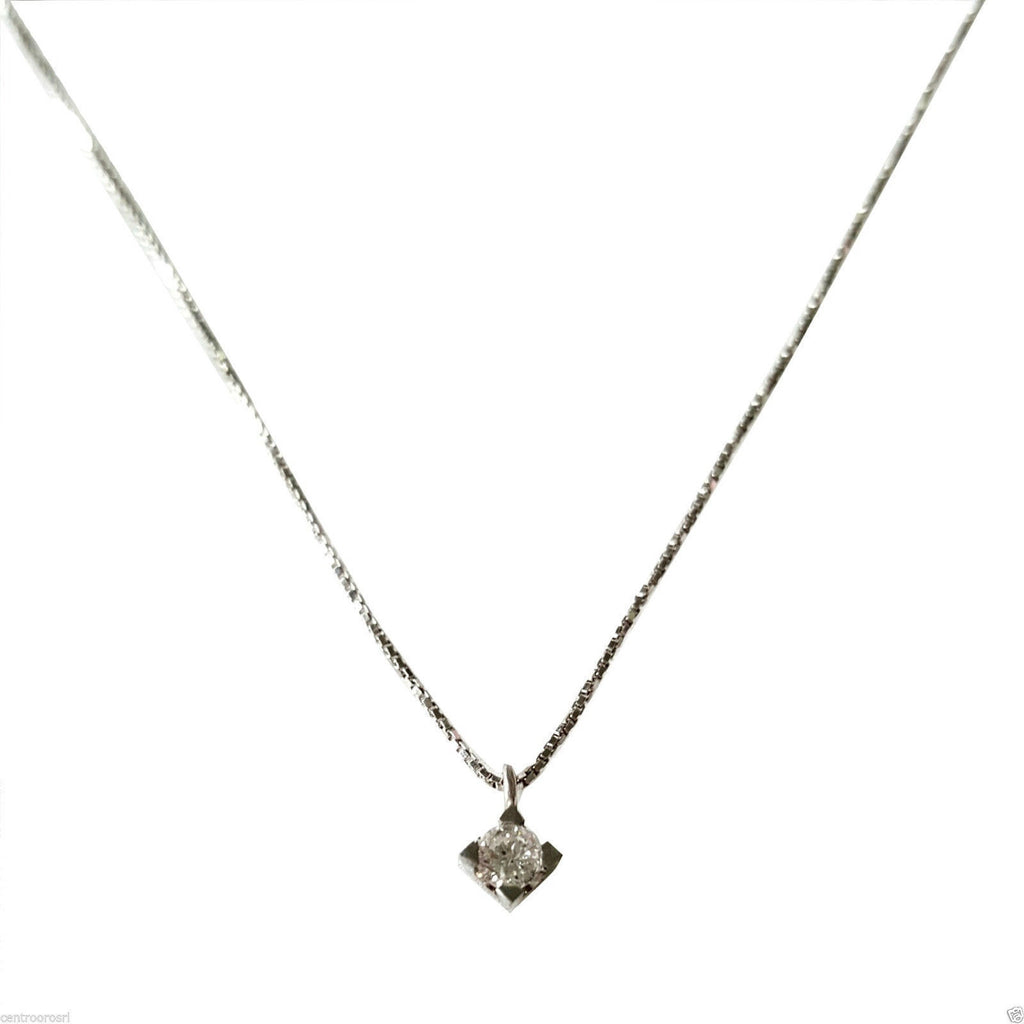 Necklace Point Light White Gold 18kt 750 with Natural Diamond 0,03CT F VVS - LUPPINO GIOIELLI SRLS