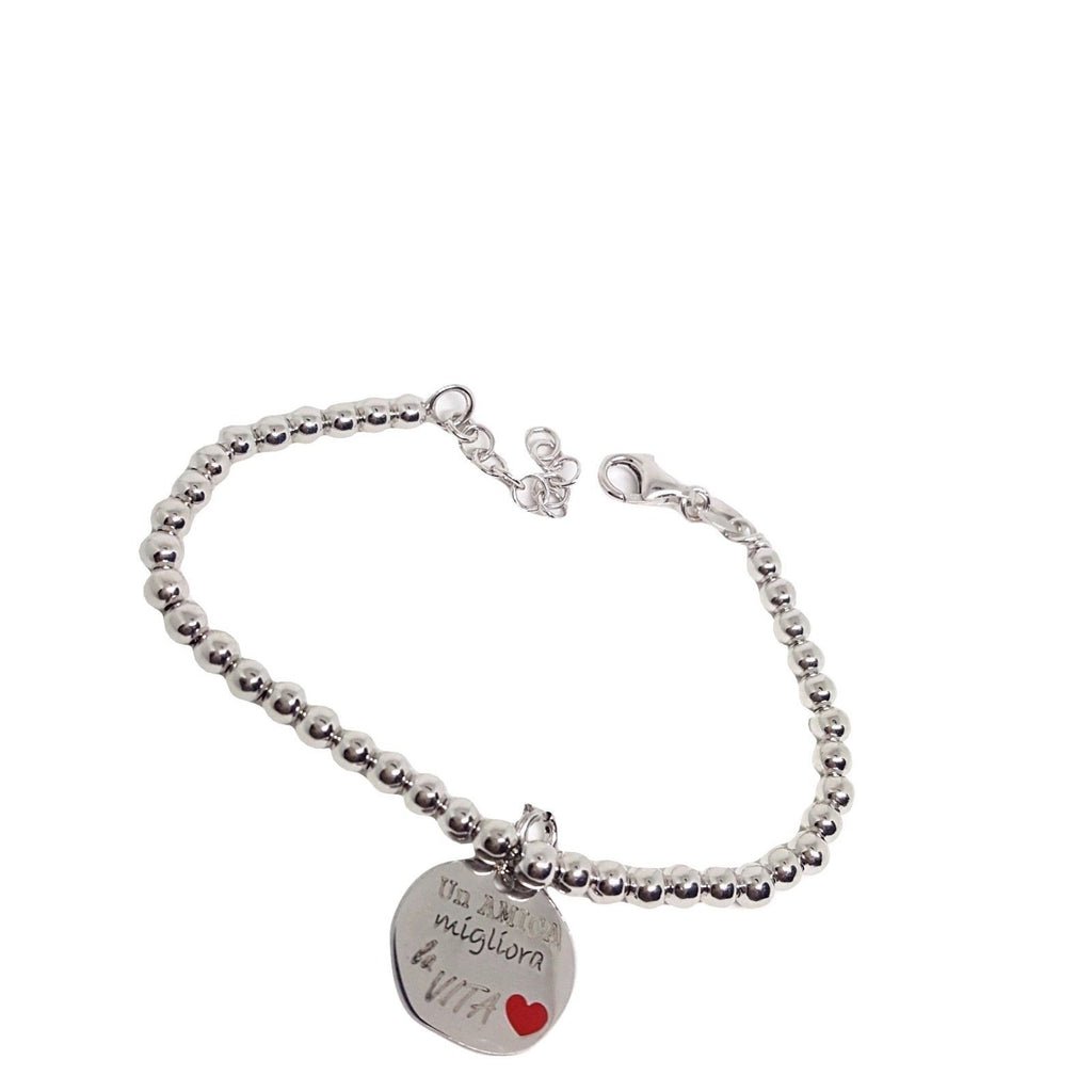 "Bracelet Man Woman Balls 4mm Silver 925 ""A friend improves life"" - LUPPINO GIOIELLI SRLS"
