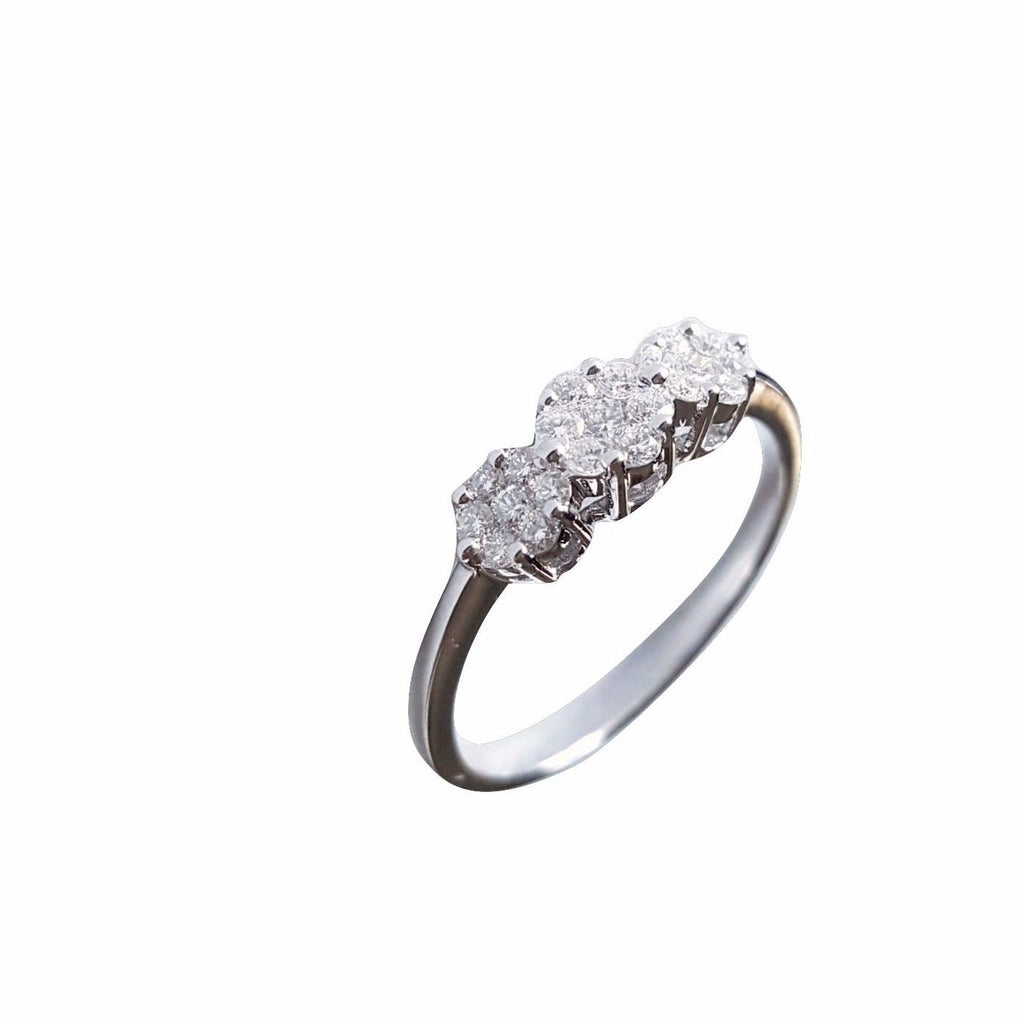 Gold Trilogy Engagement Ring 18kt 750 Natural Diamonds 0,38CT FG VVS - LUPPINO GIOIELLI SRLS