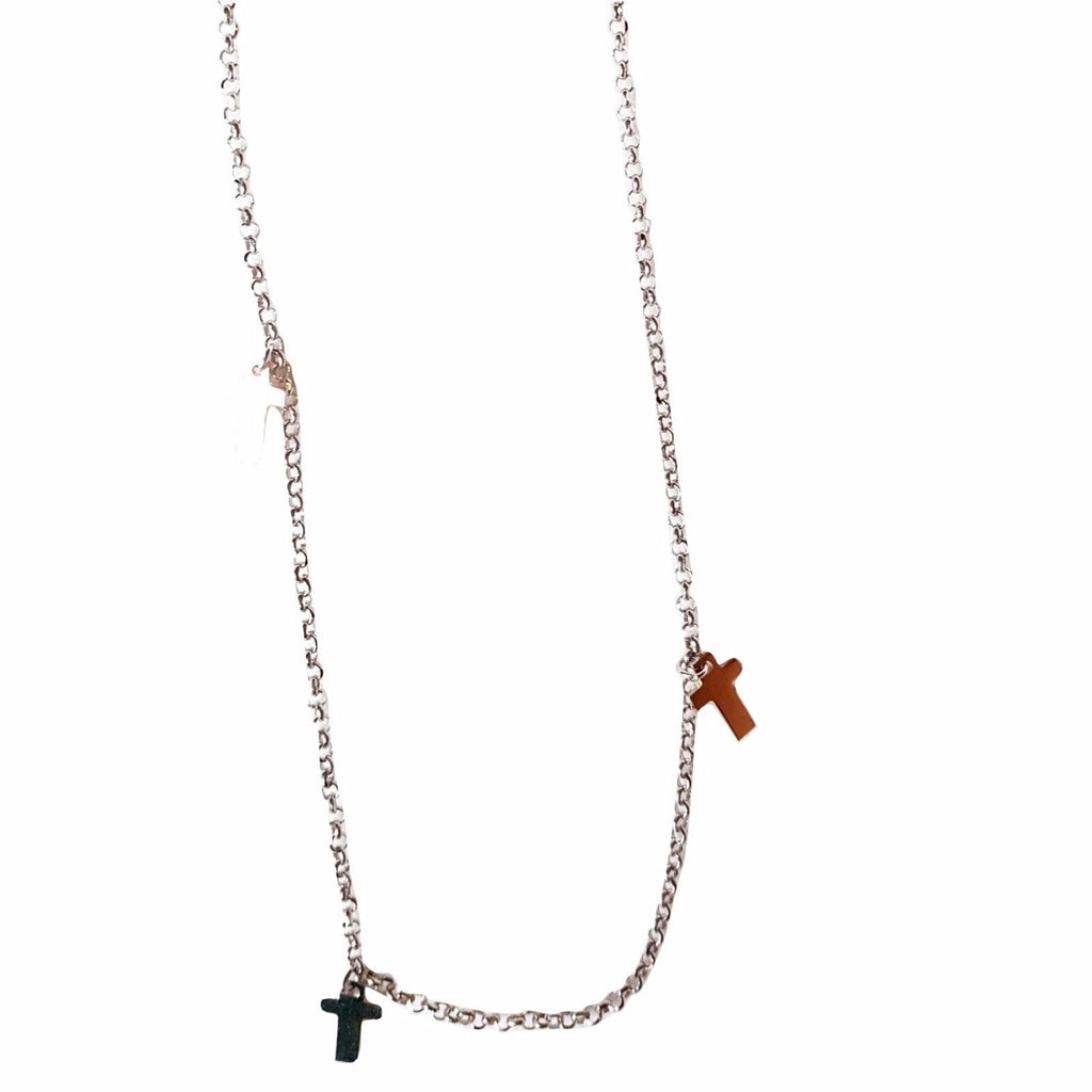 Long Necklace Crosses in Silver 925 White and Pink 80 cm - LUPPINO GIOIELLI SRLS