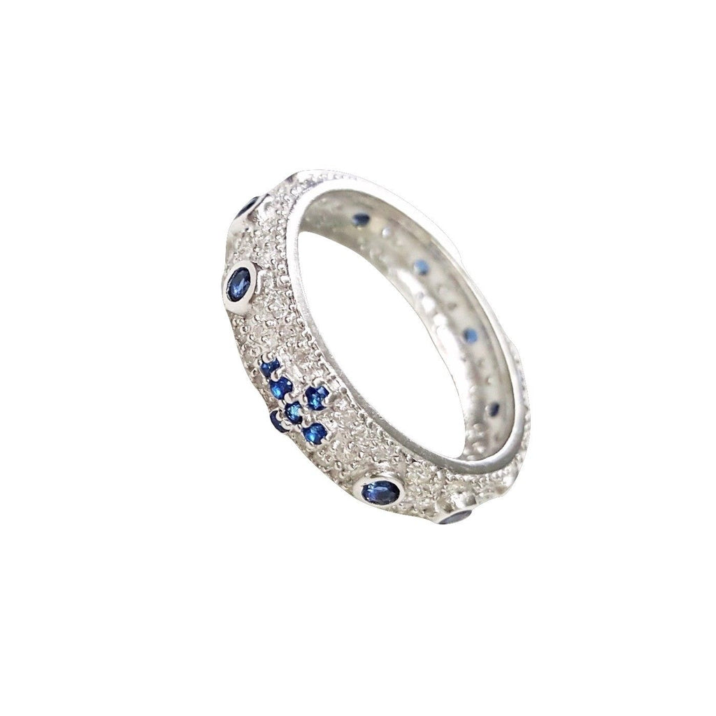 Silver Rosary Ring 925 with White and Blue Cubic Zirconia - LUPPINO GIOIELLI SRLS