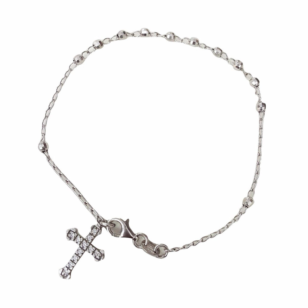Silver Rosary Bracelet 925 with Zircon Cross - LUPPINO GIOIELLI SRLS