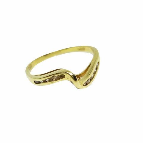 Anello Veretta Donna in oro giallo 18kt 750 con diamanti 0.10ct H VS2