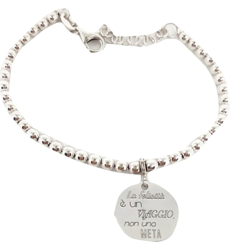 "Bracelet Man Woman Balls 4mm Silver 925 ""Happiness is a journey not a destination"" - LUPPINO GIOIELLI SRLS"