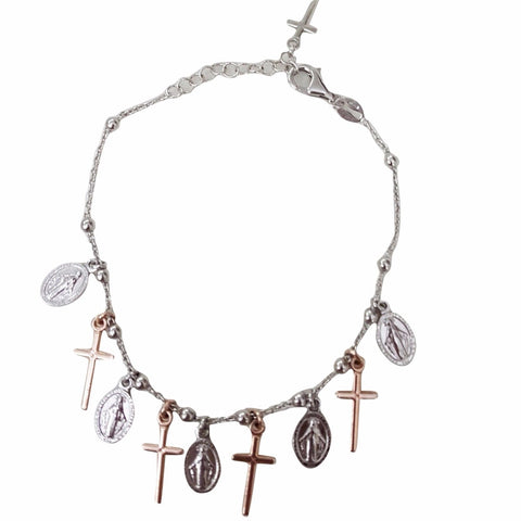 Silver Rosary Bracelet 925 with Cross and Miraculous - LUPPINO GIOIELLI SRLS