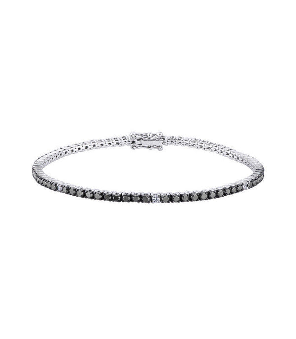 Man tennis bracelet 18 kt white gold with white and black diamonds