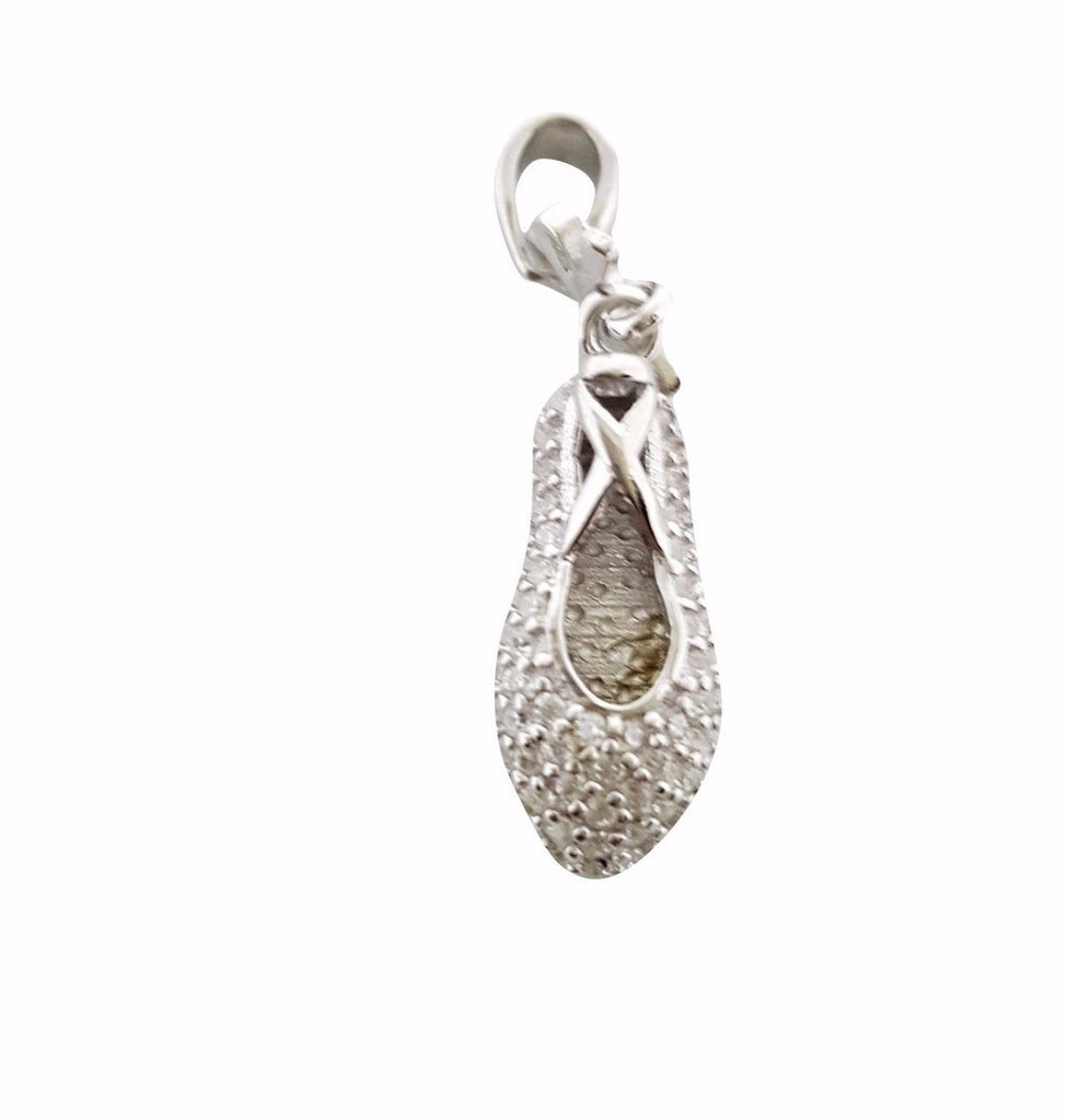 Ballerina Shoe Pendant in Silver 925 and White Cubic Zirconia - LUPPINO GIOIELLI SRLS
