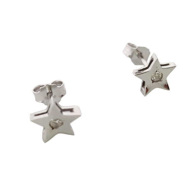 White Gold Star Earrings 18KT 750 / 0000 with Diamonds 0.06CT FG VVS - LUPPINO GIOIELLI SRLS