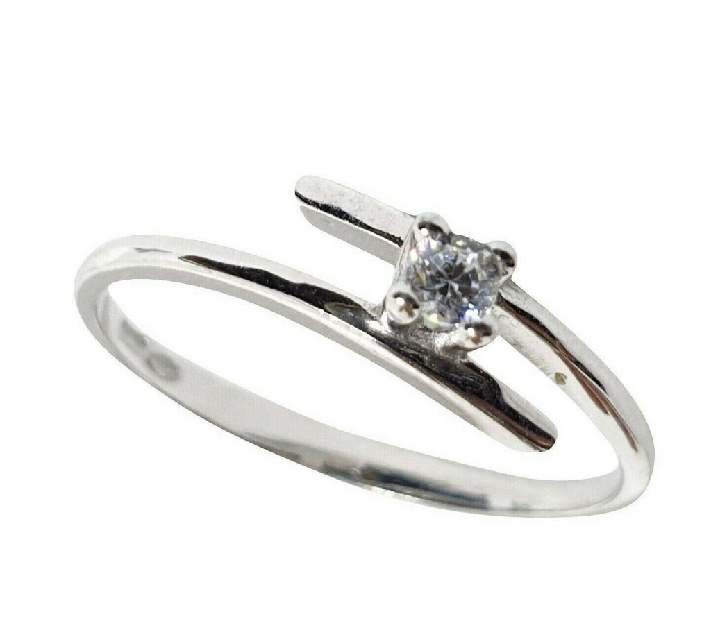 White Gold Engagement Solitaire Ring 18kt (750 / 000) 0,10CT G VVS Diamond