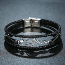 Load image into Gallery viewer, Treble Clef Leather Bracelet