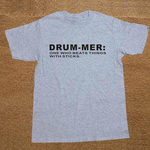 Gray and Black Funny Drummer T-Shirt