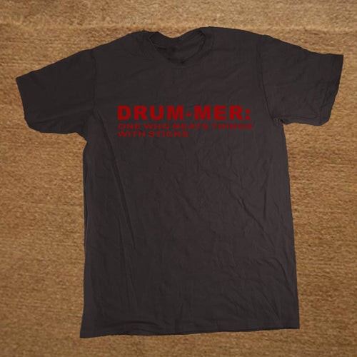 Black and Red Funny Drummer T-Shirt
