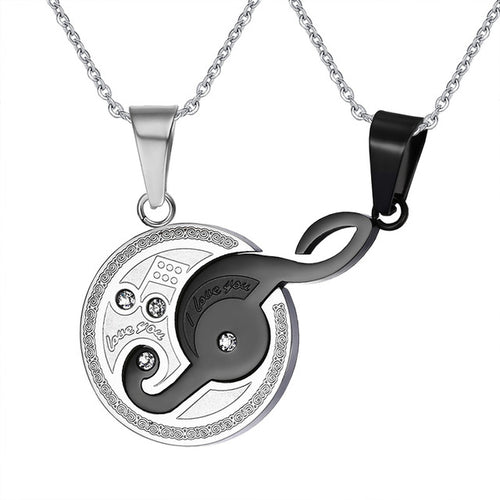 Black/Silver Musical Design Couples Necklace