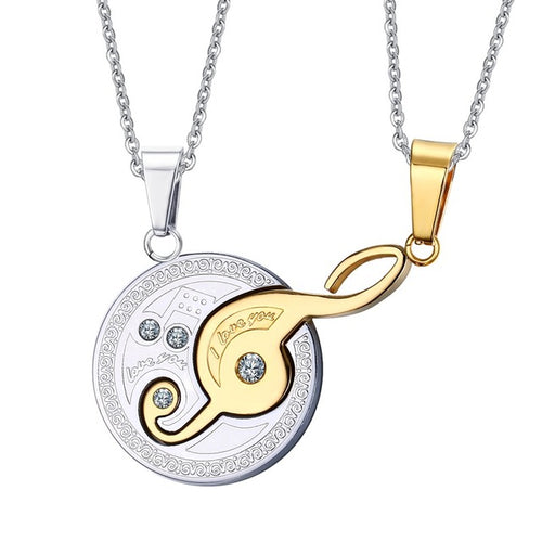Gold/Silver Musical Design Couples Necklace