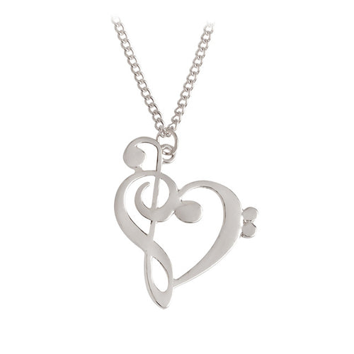 Silver Bass/Treble Clef Heart Necklace