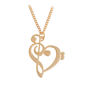 Gold Bass/Treble Clef Heart Necklace