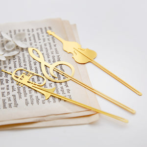 8 Piece Gold Colored Instrument Bookmarks