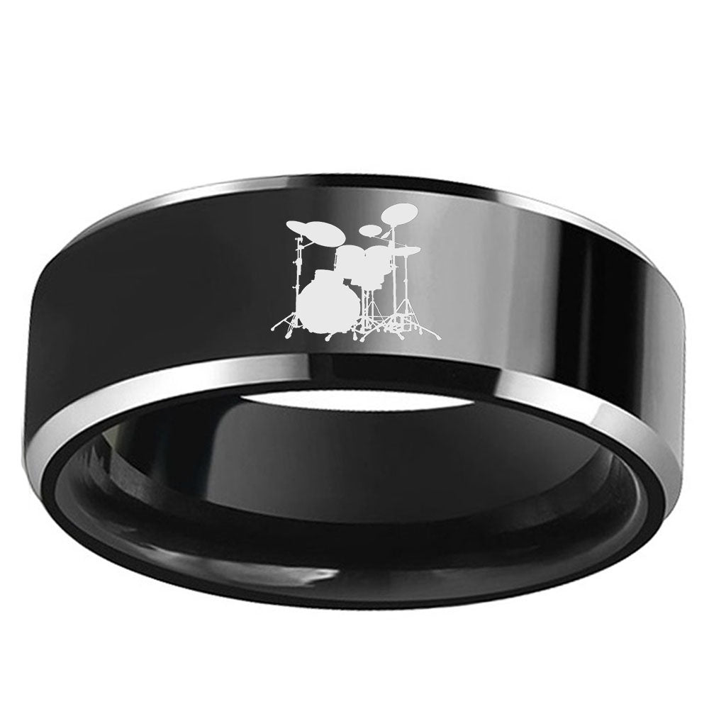 8 mm Black Tungsten Drum set Ring