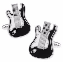 Load image into Gallery viewer, Black Electric Guitar Cuff Links