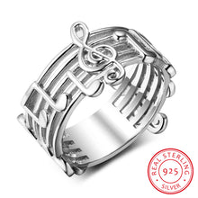 Load image into Gallery viewer, Sterling Sliver Musical Note Patterned Ring