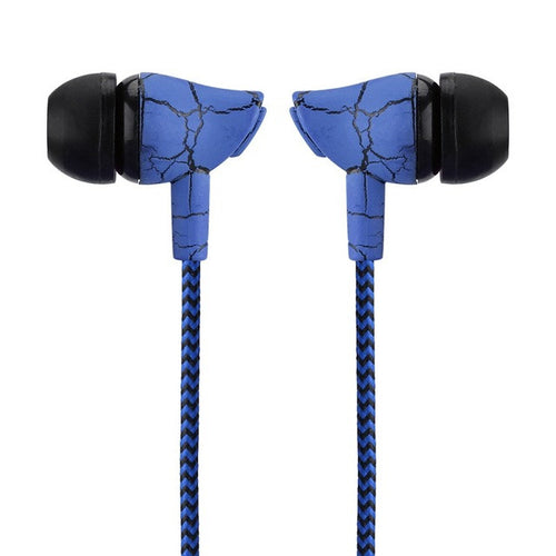Blue Braided Cracked Design Earphone Buds