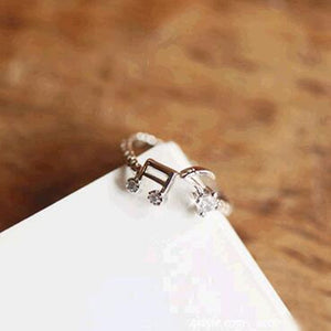 Adjustable Rhinestone Music Note Ring