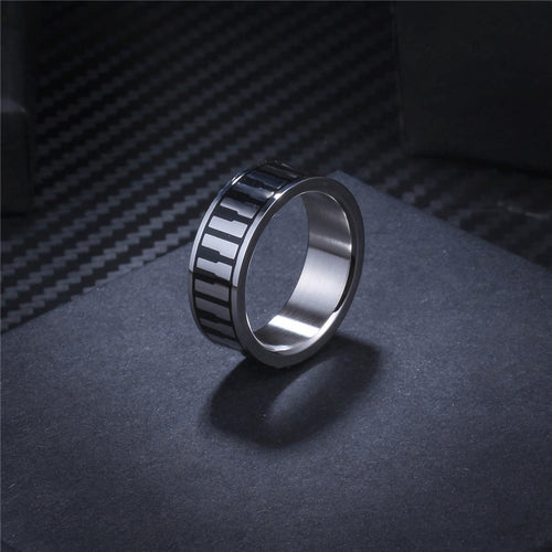 Silver Colored Stainless Steel Piano Piano Ring