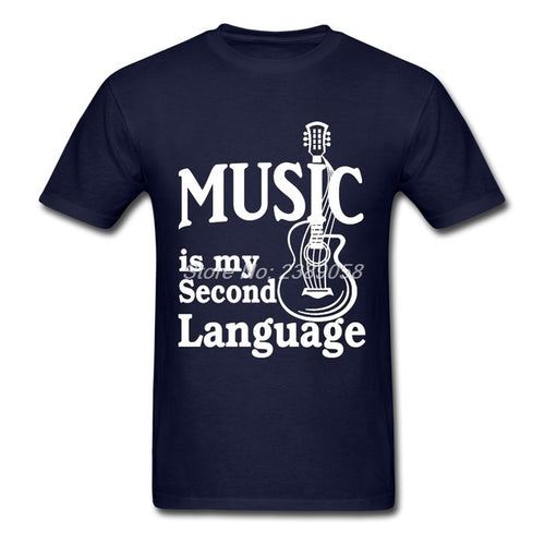 Navy Blue Music is my Second Language T-Shirt