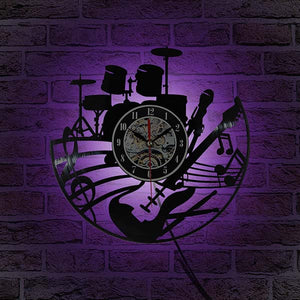 Musical Themed Vinyl Record Wall Clock with LED Color Change