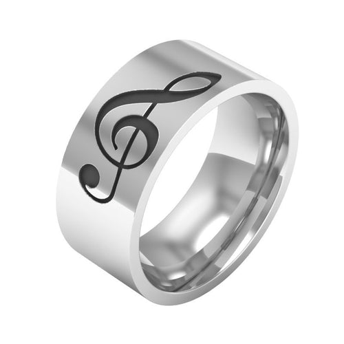 Stainless Steel Treble Clef Ring