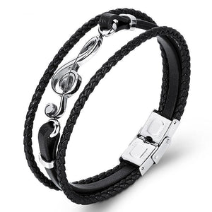 Treble Clef Leather Bracelet