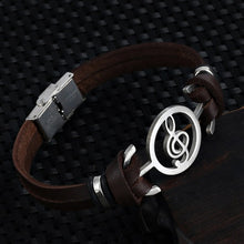 Load image into Gallery viewer, Musical Note Leather Bracelet
