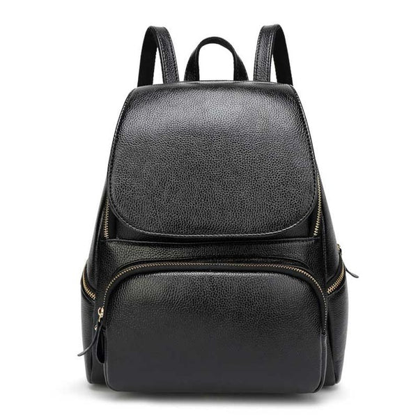 Sacamain Brand Backpack Smart School Student Teenage Girls Daily Simple Style School Bag High Quality Leather Women Backpack