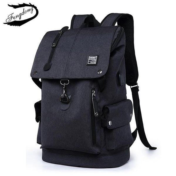 FengDong USB Charge Men Backpack 2018 Schoolbag Fashion High School Travel Backpacks Student Bags For Teenager Boys Mochila