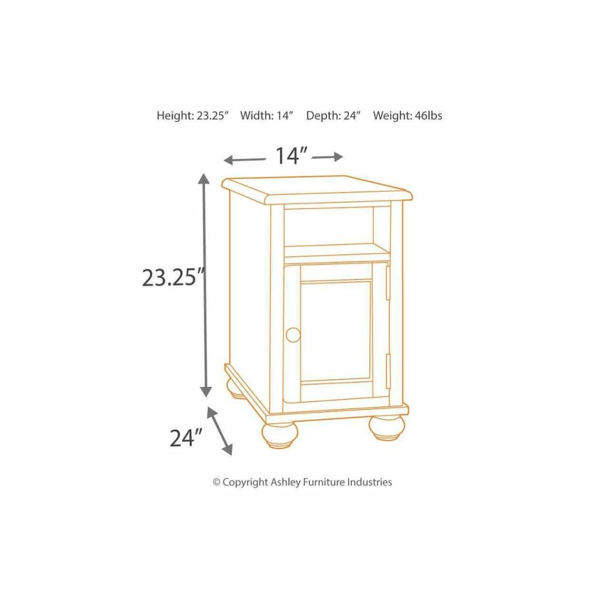 Barilanni Chairside End Table - END TABLE/SIDE TABLE