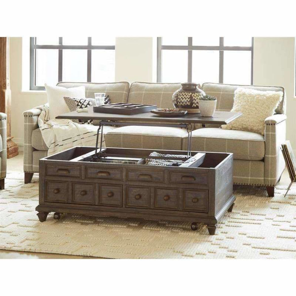 Burkhardt Lift Top Storage Cocktail Table w/Casters - COFFEE TABLE