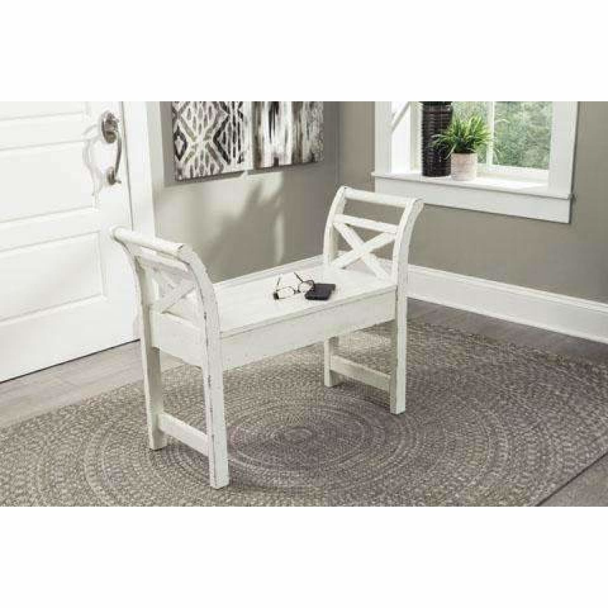 Heron Ridge Antique White Accent Bench - Long Bench