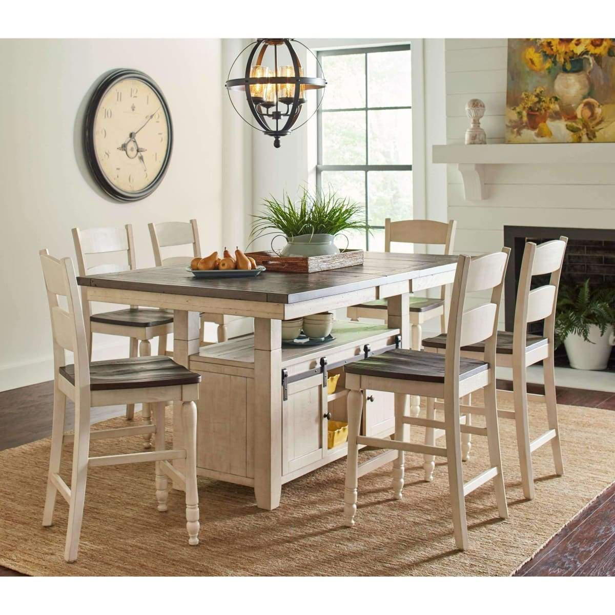Madison County Vintage White Hi/Low Table & 6 Ladderback Dining Chairs - DININGCOUNTERHEIGHT