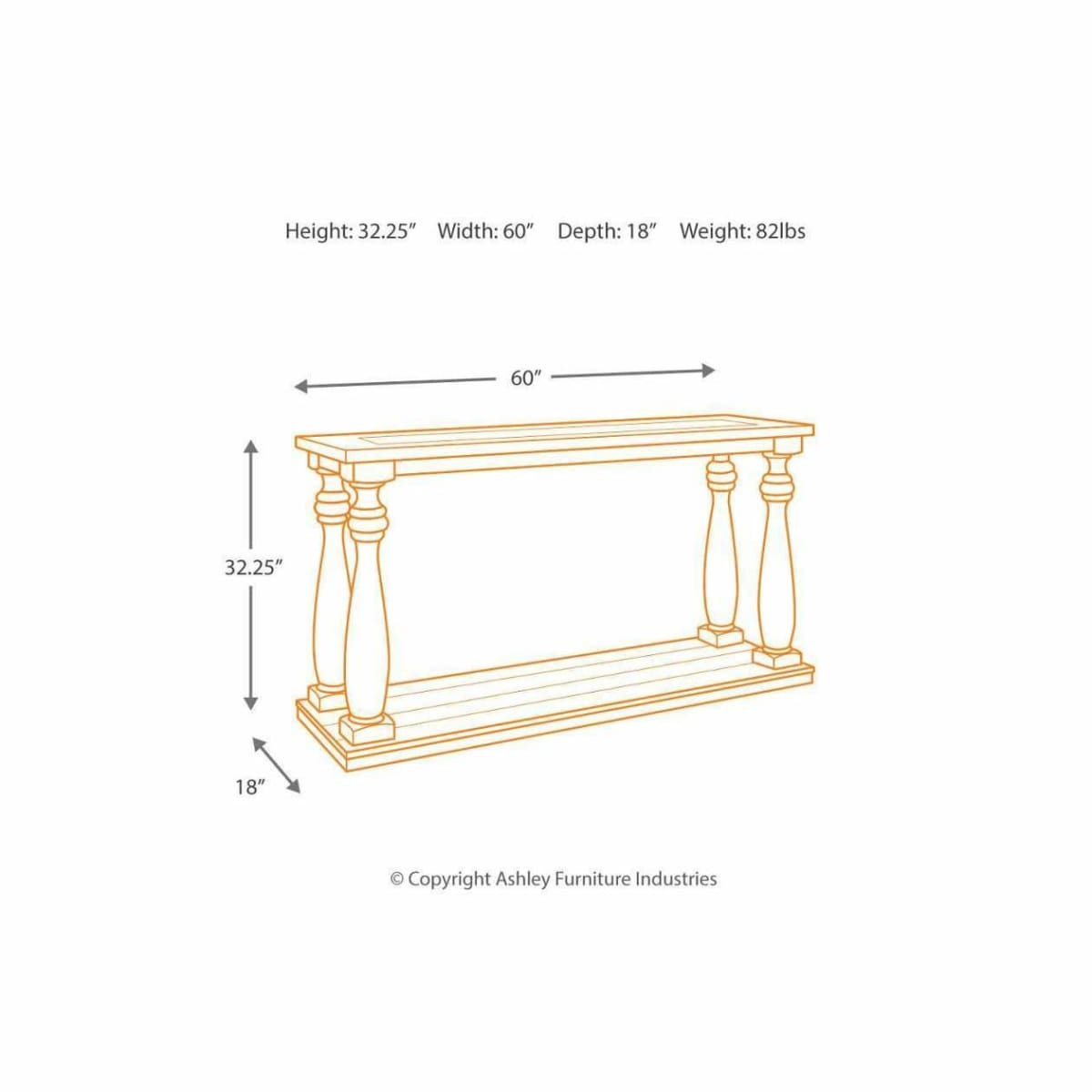 Mallacar Sofa/Console Table - CONSOLE TABLE